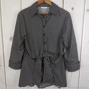 Neiman Marcus Black/White Stripes Tie-Waist Blouse